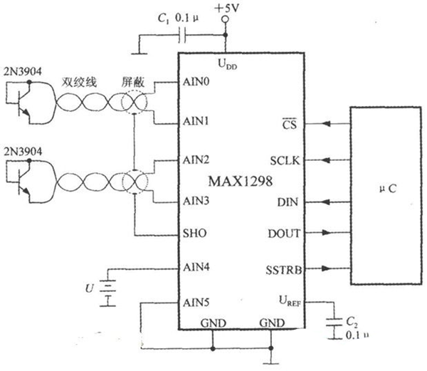 MAX1298构成温度/电压监测系统的电路图