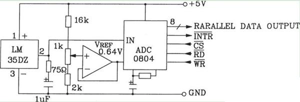 LM35DZ摄氏温度传感器构成的转换电路图