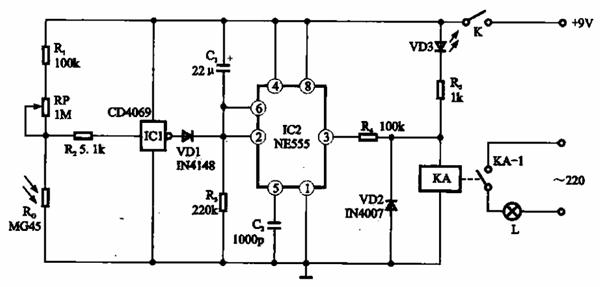 采用光敏传感器的光电控制照明灯电路
