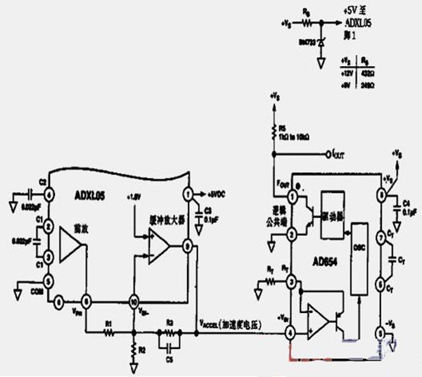 高性能加速度传感器频率变换电路图