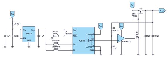 如何使用按钮式数字电位器的可调电压输出设计